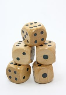 Five Wooden Gambling Dices Royalty Free Stock Photo
