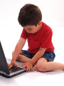 Free Little Boy And Laptop Royalty Free Stock Photos - 2173388