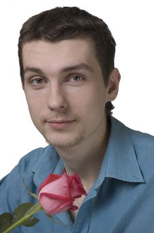 Free Young Man Holding A Rose Stock Image - 2173961