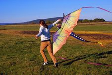 Free Young Girl Running With Kite Stock Photo - 2174260