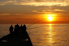 Fishermen In Sochi Royalty Free Stock Image