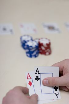 Man Playing Cards Stock Images