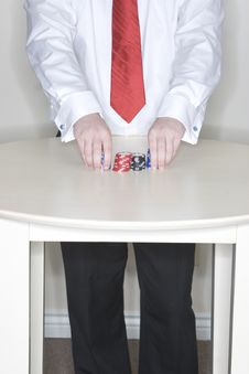Free Man Holding Gambling Chips Stock Images - 2176204