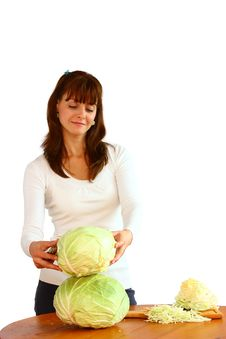 Woman And Cabbage Royalty Free Stock Photography