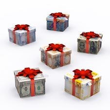 Free Currency Present Box With Red Ribbon Stock Photos - 21704743