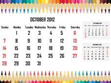 Free Calendar 2012 October Stock Images - 21704824