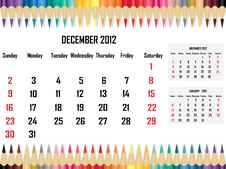 Free Calendar 2012 December Royalty Free Stock Photos - 21704858