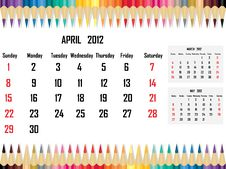 Free Calendar 2012 April Royalty Free Stock Photos - 21704878