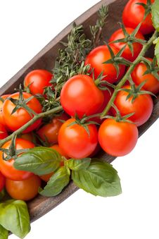 Free Cherry Tomatoes With Basil And Thyme Royalty Free Stock Photo - 21705235