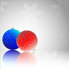 Christmas Baubles With Reflection Royalty Free Stock Photos