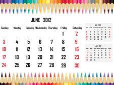 Free Calendar 2012 June Royalty Free Stock Photo - 21707735