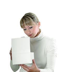 Free Girl Looks In A White Cardboard Box Royalty Free Stock Photography - 21708447