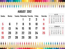 Free Calendar 2012 August Royalty Free Stock Image - 21708526