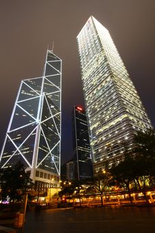 Downtown Hong Kong At Night Royalty Free Stock Photo