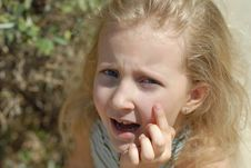 Child Girl Portrait Crying Stock Image