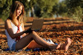 Free Girl With A Laptop Royalty Free Stock Image - 21720036
