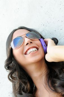 Free Young Beautiful Woman Talking On Phone Royalty Free Stock Photography - 21720237