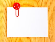 Free Close Up Of A  Red Paper Clip And White Paper Royalty Free Stock Image - 21721986