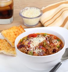 Free Chili With Cheese Bread Royalty Free Stock Photo - 21723655