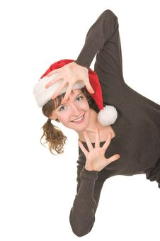 Free Young Girl In Santa Hat Royalty Free Stock Photo - 21728325