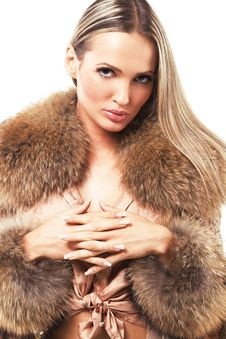 Free Beautiful Model In Fur Stock Images - 21729344