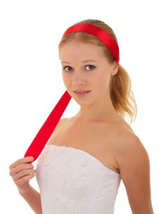Free Attractive Girl With A Red Ribbon Royalty Free Stock Images - 21729579