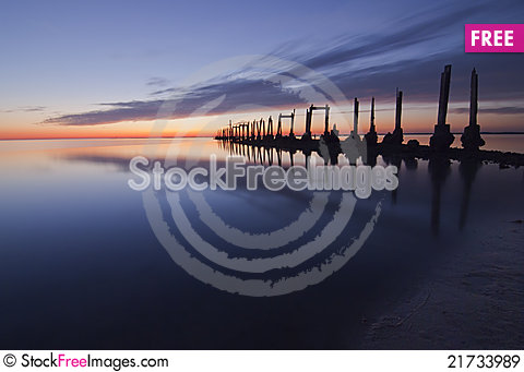 Free Old Pier At Sunset Royalty Free Stock Images - 21733989