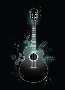 Free Guitar Blacklight Royalty Free Stock Photo - 21737205