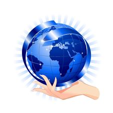 Free Hand Holding A Blue Globe-Social Network Concept Stock Images - 21739324