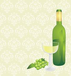 Free Wine Bottle, Glass And Green Grape Royalty Free Stock Photos - 21741568