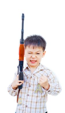 Free Angry Asian Boy With Gun Stock Photography - 21742432