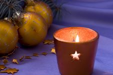 Christmas Candle And Balls Royalty Free Stock Images