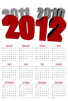 Free Calendar For 2012 Royalty Free Stock Photo - 21746345
