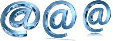 Blue Metallic E-mail Symbols Stock Photos