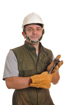 Free Worker With Screw Key Stock Image - 21747721