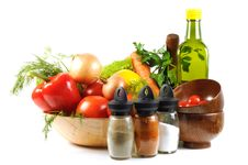 Free Fresh Vegetables, Spice  And Oil Stock Images - 21748004