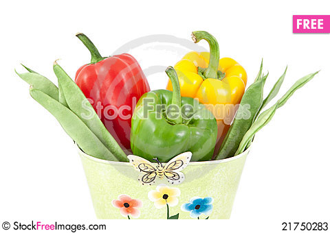 Free Green Beans With Yellow, Green And Red Peppers Stock Photos - 21750283