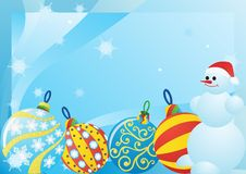 Free Snowman And Christmas Decorations Royalty Free Stock Image - 21754396