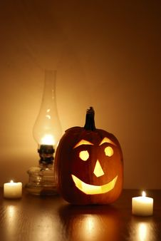 Free Halloween Pumpkin With Lamp Royalty Free Stock Image - 21756876