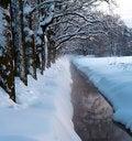 Free Winter Park Stream In Snow Royalty Free Stock Photos - 21760148