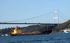 Free Fatih Sultan Mehmet Bridge With The Tanker Stock Photos - 21766853