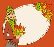 Free Girl With Autumn Leaves Stock Photography - 21768982