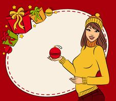 Free Girl With Christmas Gift Royalty Free Stock Photos - 21768988