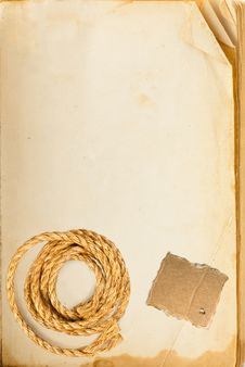 Free Old Book Page, Hemp Rope And Cardboard Royalty Free Stock Image - 21769326