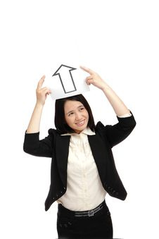 Business Woman (asian) Holding A Up Arrow Royalty Free Stock Images