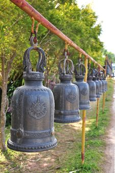 Free The Row Of Thai Style Ancient Bells Stock Photos - 21773823