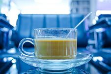 Free Hot Coffee In Glass Cup With Plate Stock Photography - 21774362