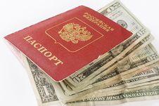 Russian Traveling Passport And Money. Stock Photo