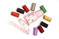 Colorful Threads And Measuring Tape Royalty Free Stock Photography