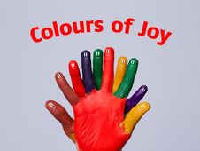 Happy Finger Smileys With Colours Of Joy Sign